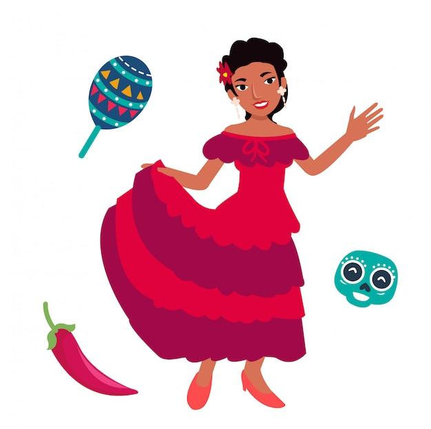 Jeunes femmes mexicaines dansant avec un costume traditionnel