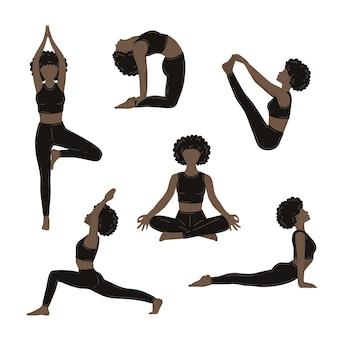 Jeunes femmes minces faisant des exercices de yoga. collection d'illustrations vectorielles