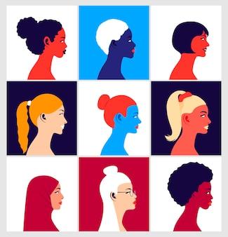 Jeunes femmes multiethniques en vue de profil