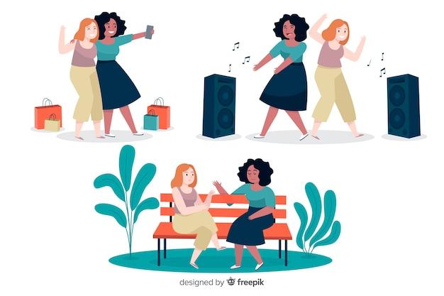 Jeunes femmes passer du temps ensemble