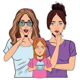Jeunes femmes et petite fille