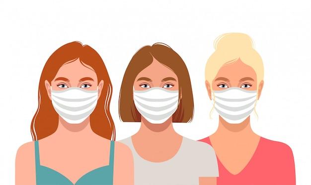 Jeunes femmes portant des masques de protection