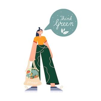 Jeunes femmes portant des sacs écologiques avec des achats. respect de l'environnement, zéro déchet, végétarisme,. épicerie écologique, panier d'achat convivial réutilisable avec légumes et fruits