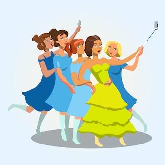 Jeunes femmes prenant selfie vector illustration.