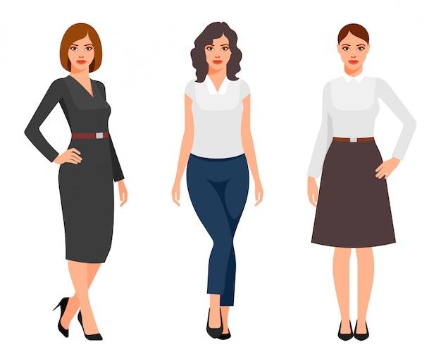 Jeunes femmes en vêtements de bureau élégants