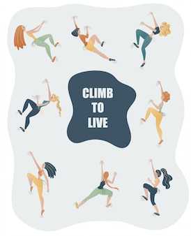 Jeunes femmes en vêtements de sport escaladant le mur. ensemble de filles d'escalade.