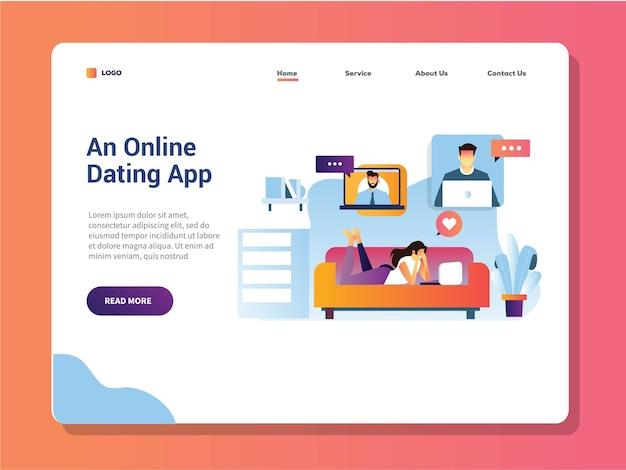 Jeunes filles allongées sur un canapé, regardez son ordinateur portable pour la page de destination de rencontres en ligne