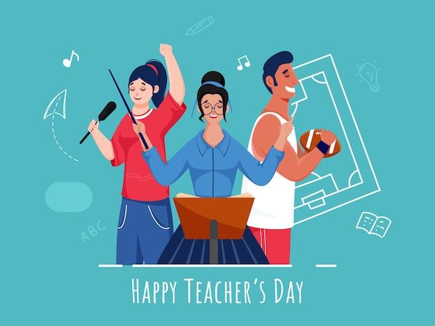 Jeunes filles chanteuses et personnage de joueur de rugby sur fond turquoise pour la célébration de la journée des enseignants heureux.