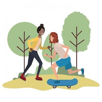 Jeunes filles pratiquant des personnages sportifs