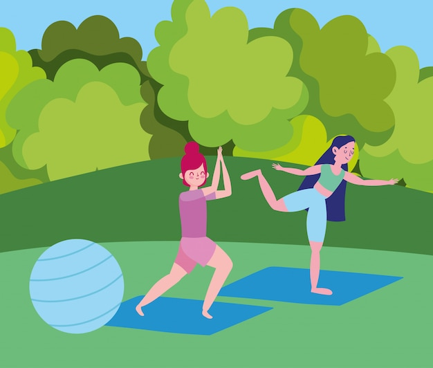 Jeunes filles pratiquant le yoga avec ballon en forme dans le dessin animé du parc