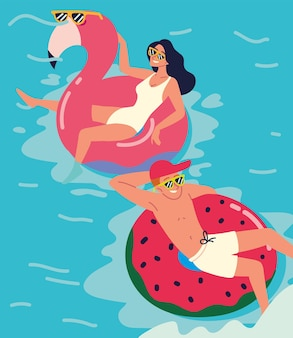 Les jeunes flottant sur gonflable