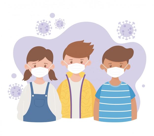 Jeunes garçons et filles avec un masque de protection médicale, prévention de la maladie de l'épidémie de coronavirus covid 19