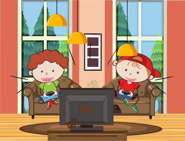 Jeunes garçons jouant au jeu vidéo