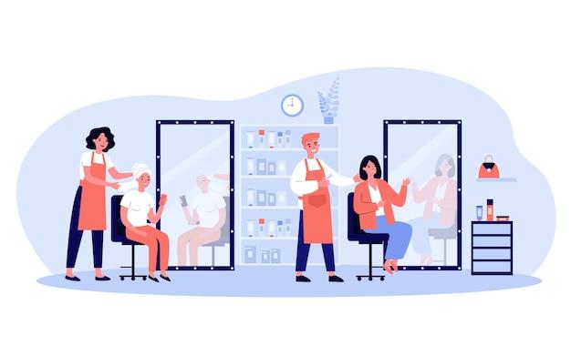 Jeunes gens assis dans l'illustration de salon de beauté. dessin animé heureux esthéticiennes, stylistes et coiffeurs coupant les cheveux pour les femmes. concept de mode et de style