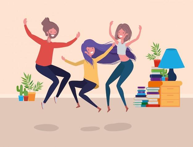 Jeunes gens dansant dans le salon