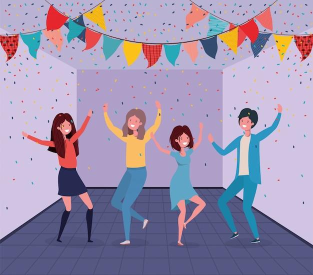 Jeunes gens danser dans la chambre