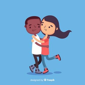 Jeunes gens embrassant fond