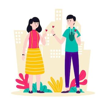 Jeunes gens faisant coeur doigt