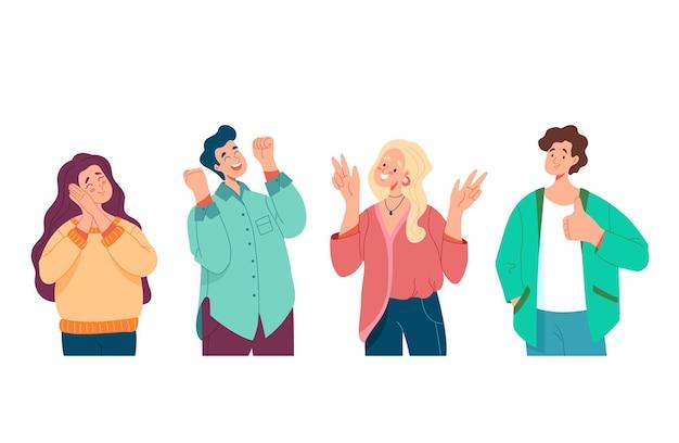 Jeunes gens homme femme garçons filles personnages avec émotions positives et jeu de concept de geste, illustration plate de dessin animé