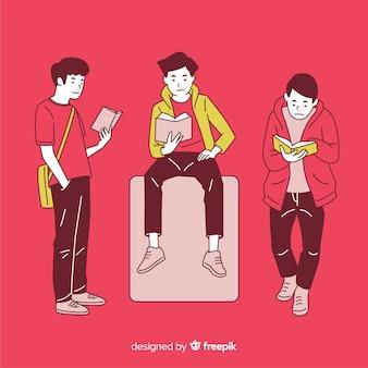 Jeunes gens lisant dans un style de dessin coréen avec un fond rouge