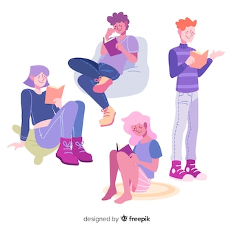 Jeunes gens lisant un design plat