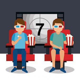 Jeunes gens avec des lunettes 3d et icônes de cinéma