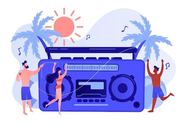 Jeunes gens minuscules dansant sur la plage en maillot de bain et short à la fête. fête sur la plage, piste de danse sur sable, fête sur la plage invitent au concept illustration isolée de bleu corail rose