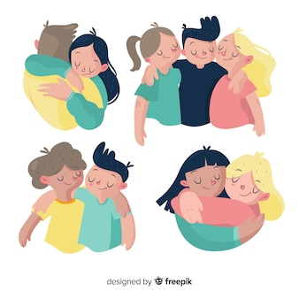Jeunes gens plats embrassant ensemble
