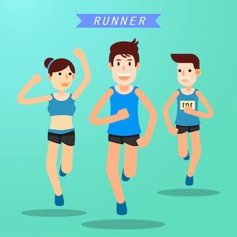 Jeunes gens qui courent et s'entraînent pour le sport marathon