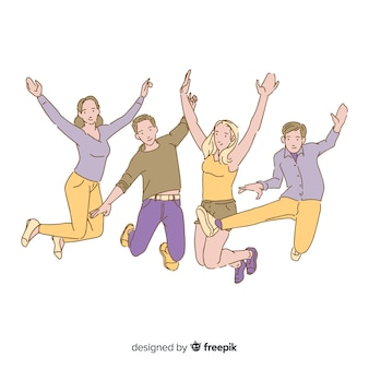 Jeunes gens sautant dans un style de dessin coréen