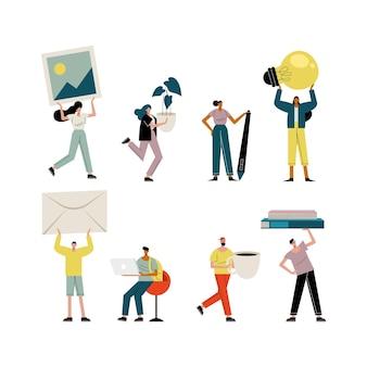 Jeunes gens soulevant des objets illustration de caractères