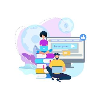 Jeunes gens travaillant ensemble. cours en ligne.