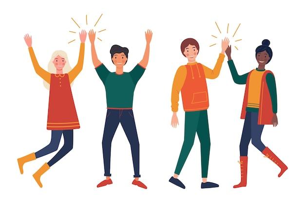 Jeunes, haute, cinq, illustration