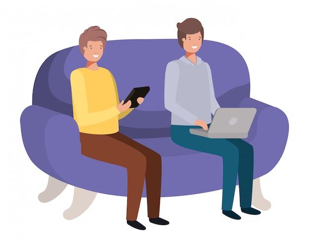 Jeunes hommes assis sur le personnage d'avatar de canapé