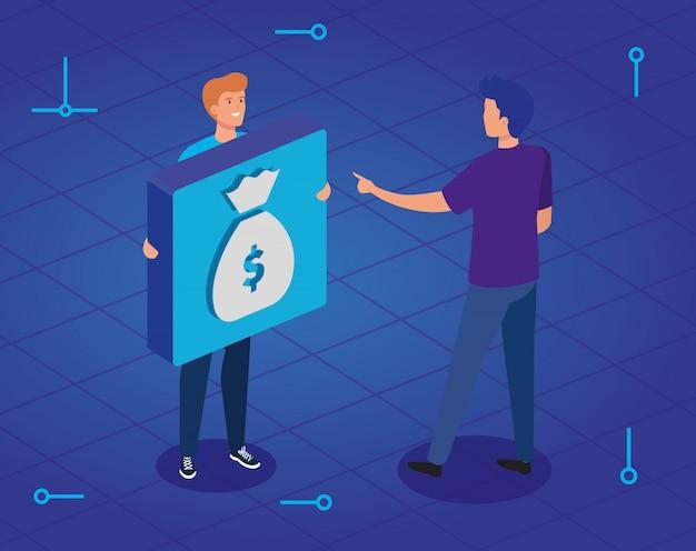 Jeunes hommes et bouton avec sac d'argent