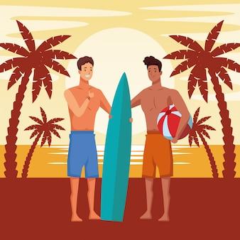 Jeunes hommes dans les dessins animés de l'heure d'été
