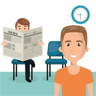 Jeunes hommes dans la scène des personnages de la salle d'attente