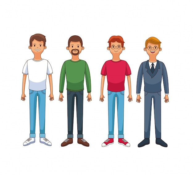 Jeunes hommes avec dessin animé de vêtements décontractés