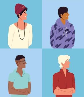 Jeunes hommes, ensemble de portraits de groupes diversifiés