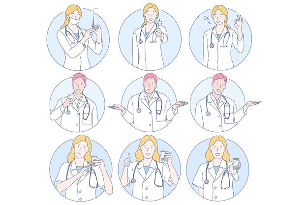 Jeunes hommes et femmes médecins personnages de dessins animés montrant des signes différents