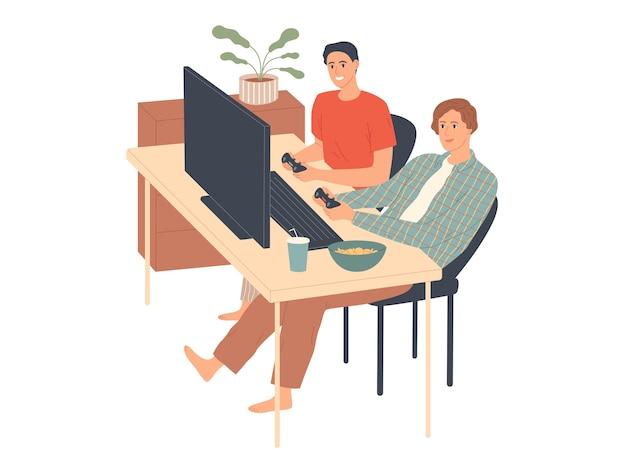 Les jeunes hommes jouent à des jeux vidéo sur la console.