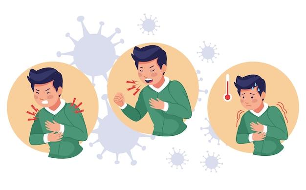 Jeunes hommes malades avec des symptômes de covid19