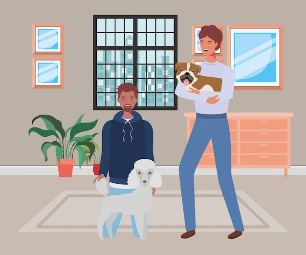 Jeunes hommes avec des mascottes de chiens mignons dans la maison