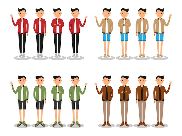 Jeunes hommes de la mode avatar plat moderne.