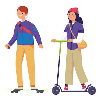 Les jeunes hommes montent des patineurs électriques et les femmes montent des scooters électriques