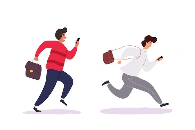 Jeunes hommes tenant des smartphones et envoyer des sms, parler, prendre selfie.