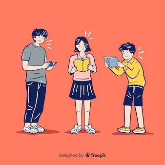 Jeunes lisant dans un style de dessin coréen