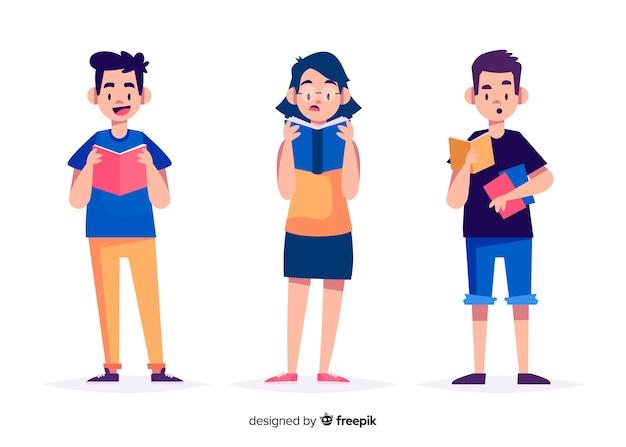Jeunes lisant et se relaxant