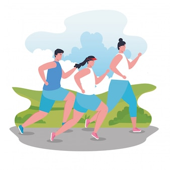 Jeunes marathoniens sportifs, femmes et hommes, affiche de compétition ou de course de marathon, mode de vie sain et sport