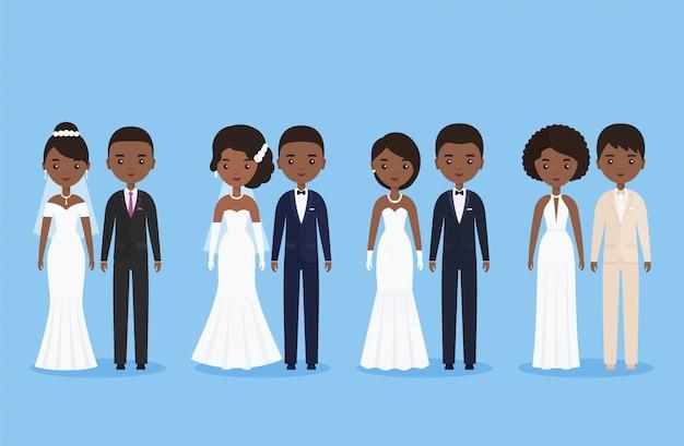 Jeunes mariés africains, personnages de dessins animés. illustration.